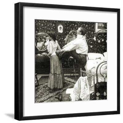 Stereoscopic Card Depicting a Woman Being Laced into a Corset-R.Y Young-Framed Photographic Print