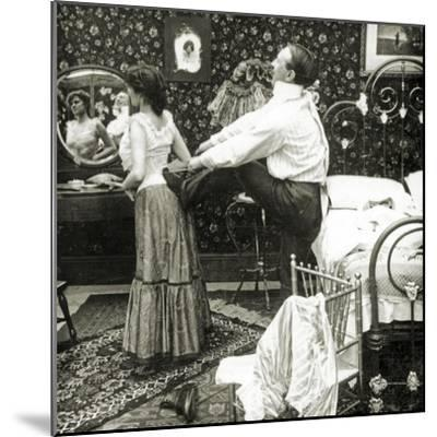 Stereoscopic Card Depicting a Woman Being Laced into a Corset-R.Y Young-Mounted Photographic Print