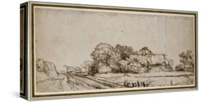 Farm Buildings Beside a Road-Rembrandt van Rijn-Stretched Canvas Print
