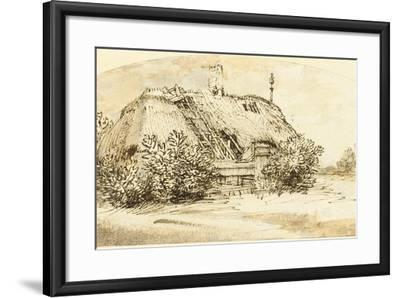 Ruined Thatched Cottage Overgrown with Bushes (Pen and Ink and Wash on Paper)-Rembrandt van Rijn-Framed Giclee Print