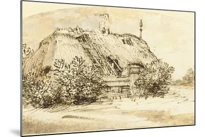 Ruined Thatched Cottage Overgrown with Bushes (Pen and Ink and Wash on Paper)-Rembrandt van Rijn-Mounted Giclee Print