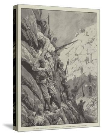 The Indian Frontier Rising, Gurkhas Descending a Pass in the Upper Mohmand Country under Fire-Richard Caton Woodville II-Stretched Canvas Print