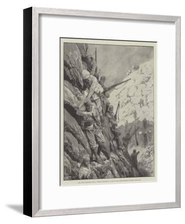 The Indian Frontier Rising, Gurkhas Descending a Pass in the Upper Mohmand Country under Fire-Richard Caton Woodville II-Framed Giclee Print