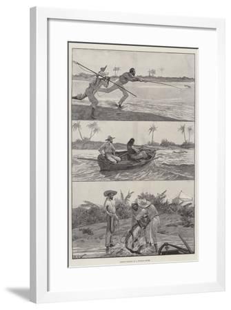 Tarpon-Fishing in a Florida River-Richard Caton Woodville II-Framed Giclee Print
