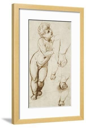 The Infant Christ and Other Studies (Pen and Dark-Brown Ink over Preliminary Indications in Leadpoi-Raphael-Framed Giclee Print
