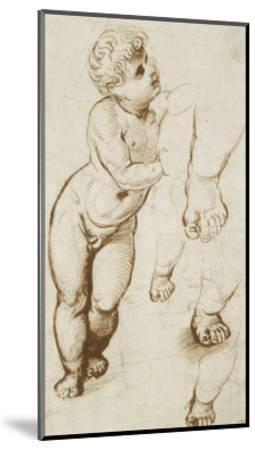 The Infant Christ and Other Studies (Pen and Dark-Brown Ink over Preliminary Indications in Leadpoi-Raphael-Mounted Giclee Print