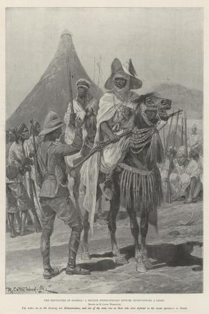 The Hostilities in Nigeria, a British Expeditionary Officer Interviewing a Chief-Richard Caton Woodville II-Stretched Canvas Print
