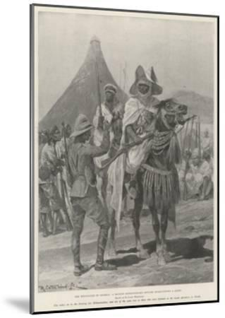 The Hostilities in Nigeria, a British Expeditionary Officer Interviewing a Chief-Richard Caton Woodville II-Mounted Giclee Print