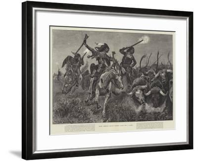 North American Indians Running Cattle into a Ranch-Richard Caton Woodville II-Framed Giclee Print