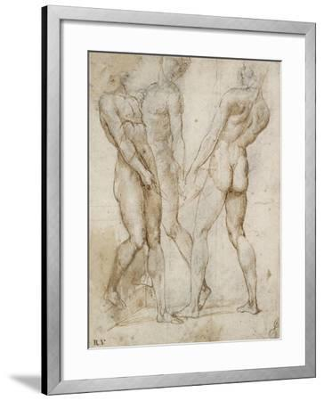 Three Nude Bearers (Pen and Brown Ink over Grey Chalk Outlines with Red Chalk on White Paper)-Raphael-Framed Giclee Print