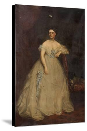 Portrait of a Lady Wearing a White Dress-Richard Buckner-Stretched Canvas Print