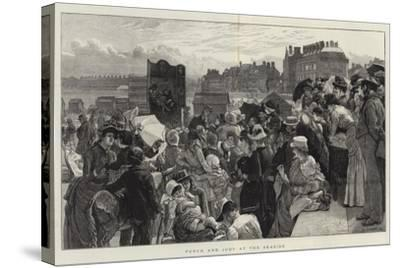 Punch and Judy at the Seaside-Robert Barnes-Stretched Canvas Print