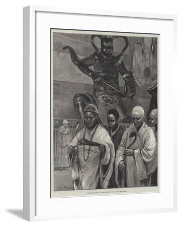 Buddhist Monks at the Entrance to Ku-Shan Monastery-Richard Caton Woodville II-Framed Giclee Print
