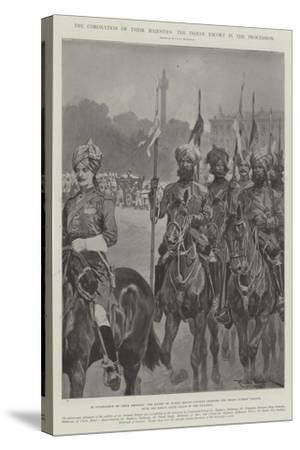 The Coronation of their Majesties, the Indian Escort in the Procession-Richard Caton Woodville II-Stretched Canvas Print
