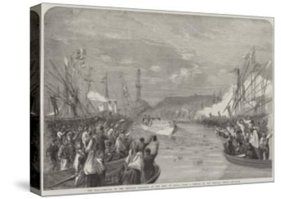 The War, Arrival of the Emperor Napoleon at the Port of Genoa-Richard Principal Leitch-Stretched Canvas Print