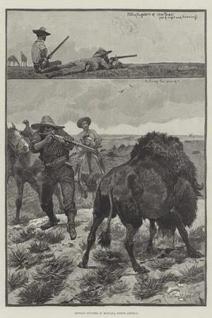 Buffalo Hunters in Montana, North America-Richard Caton Woodville II-Stretched Canvas Print