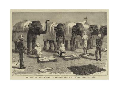 The End of the Afghan War, Elephants at Mess, Safaed Sung-Samuel Edmund Waller-Framed Giclee Print