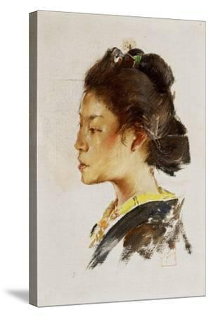 Study Head of a Japanese Girl, 1890-92-Robert Frederick Blum-Stretched Canvas Print