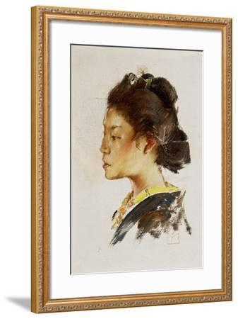 Study Head of a Japanese Girl, 1890-92-Robert Frederick Blum-Framed Giclee Print