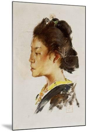 Study Head of a Japanese Girl, 1890-92-Robert Frederick Blum-Mounted Giclee Print