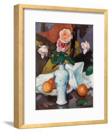 Roses in a Vase with Oranges and a White Tablecloth-Samuel John Peploe-Framed Giclee Print