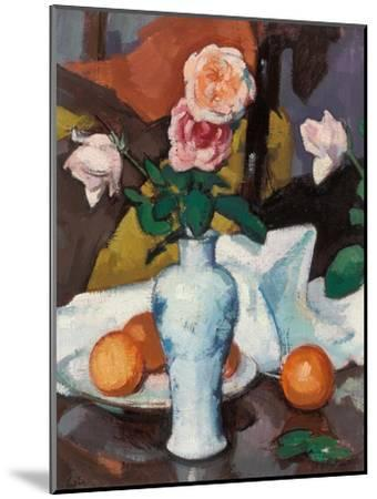 Roses in a Vase with Oranges and a White Tablecloth-Samuel John Peploe-Mounted Giclee Print