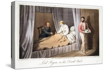 Lord Byron on His Death Bed, from the Last Days of Lord Byron by William Parry, Pub. 1825-Robert Seymour-Stretched Canvas Print