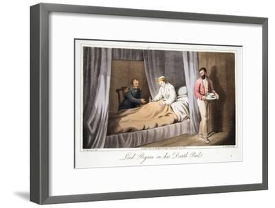 Lord Byron on His Death Bed, from the Last Days of Lord Byron by William Parry, Pub. 1825-Robert Seymour-Framed Giclee Print