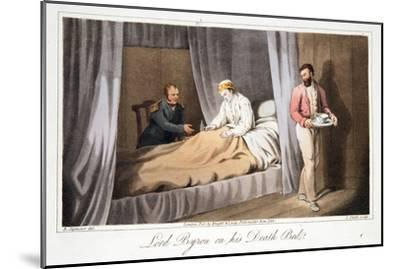 Lord Byron on His Death Bed, from the Last Days of Lord Byron by William Parry, Pub. 1825-Robert Seymour-Mounted Giclee Print