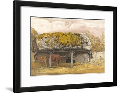 A Cow Lodge with a Mossy Roof, C.1829 (Pen and Ink with W/C and Gouache on Paper)-Samuel Palmer-Framed Giclee Print