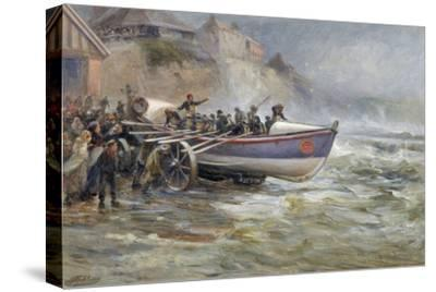 Launching the Cullerboats Lifeboat, 1902-Robert Jobling-Stretched Canvas Print