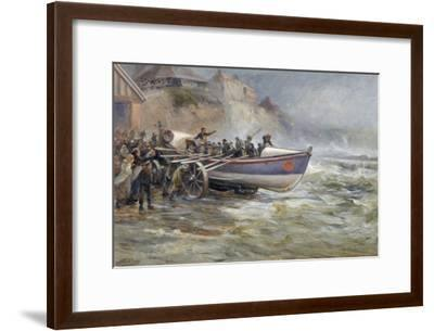 Launching the Cullerboats Lifeboat, 1902-Robert Jobling-Framed Giclee Print