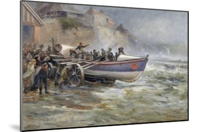 Launching the Cullerboats Lifeboat, 1902-Robert Jobling-Mounted Giclee Print