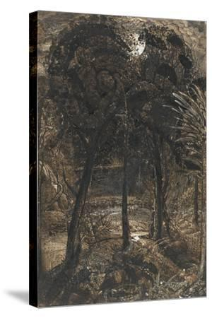 A Moonlit Scene with a Winding River, 1827-Samuel Palmer-Stretched Canvas Print