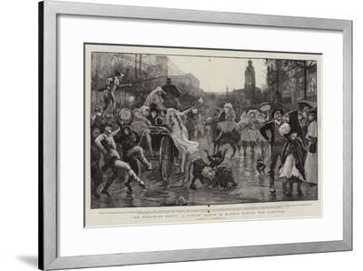 On Pleasure Bent, a Street Scene in Madrid During the Carnival-Robert Walker Macbeth-Framed Giclee Print