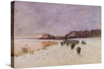 Winter at Loch Ard-Sir Alfred East-Stretched Canvas Print