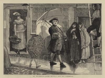 St Swithin'S, Jonas Hanway and His Umbrella-Sir James Dromgole Linton-Framed Giclee Print