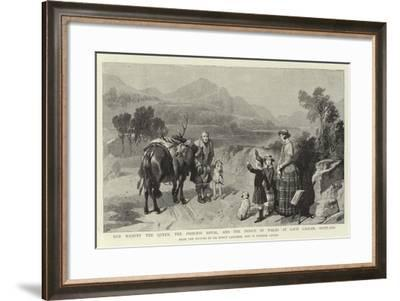 Her Majesty the Queen, the Princess Royal, and the Prince of Wales at Loch Laggan, Scotland-Edwin Landseer-Framed Giclee Print