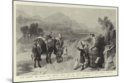 Her Majesty the Queen, the Princess Royal, and the Prince of Wales at Loch Laggan, Scotland-Edwin Landseer-Mounted Giclee Print