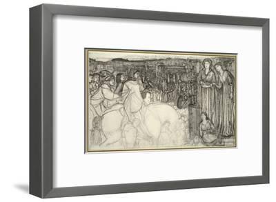Gualdrada Donati Presenting Her Daughter to Buondelmente (Pen and Black Ink with Graphite on White -Edward Burne-Jones-Framed Premium Giclee Print