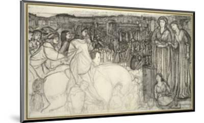 Gualdrada Donati Presenting Her Daughter to Buondelmente (Pen and Black Ink with Graphite on White -Edward Burne-Jones-Mounted Premium Giclee Print