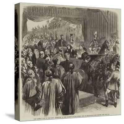 The Queen's Visit to the City, Reception of Her Majesty at the Surrey End of Blackfriars New Bridge-Sir John Gilbert-Stretched Canvas Print