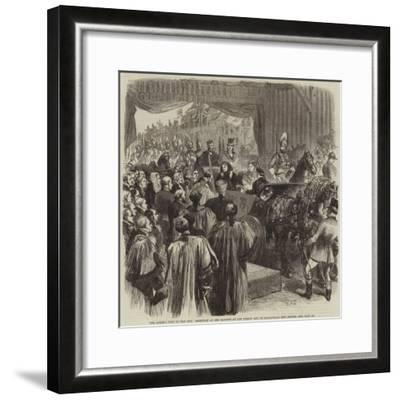 The Queen's Visit to the City, Reception of Her Majesty at the Surrey End of Blackfriars New Bridge-Sir John Gilbert-Framed Giclee Print