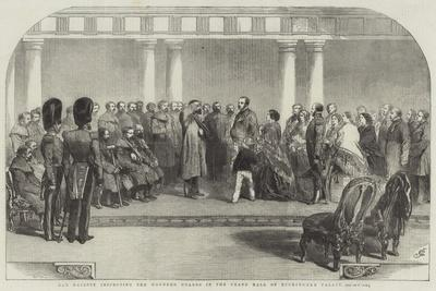 Her Majesty Inspecting the Wounded Guards in the Grand Hall of Buckingham Palace-Sir John Gilbert-Framed Giclee Print