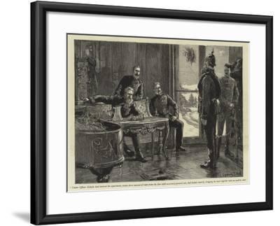 Under-Officer Schultz Had Entered the Apartment-Sydney Prior Hall-Framed Giclee Print