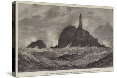 The Calf-Rock Lighthouse, Bantry Bay, Destroyed by the Late Storm-Sir John Gilbert-Stretched Canvas Print