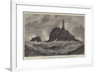 The Calf-Rock Lighthouse, Bantry Bay, Destroyed by the Late Storm-Sir John Gilbert-Framed Giclee Print