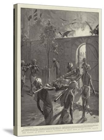 The Plague at Bombay, Hindoos Disposing of their Dead at the Burning Ghauts-Sydney Prior Hall-Stretched Canvas Print