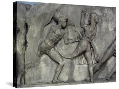 Mausoleum at Halicarnassus, Combat with the Amazons- Skopas of Paros-Stretched Canvas Print