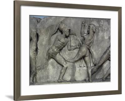 Mausoleum at Halicarnassus, Combat with the Amazons- Skopas of Paros-Framed Giclee Print